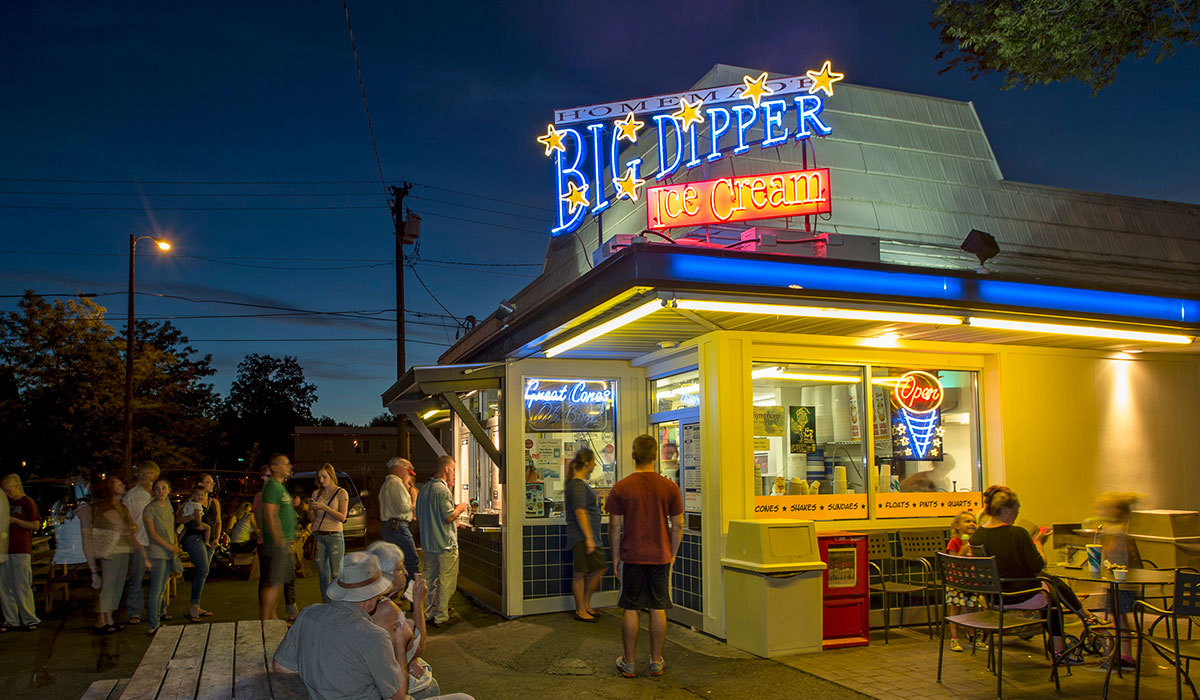 Missoula's famous Big Dipper Ice Cream shop,