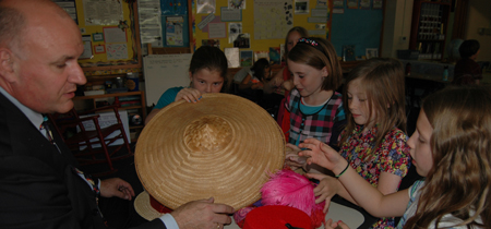 Students explore hats from around the world at Lewis and Clark Elementary School in Missoula.