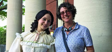 UM history Professor Anya Jabour poses with Hannah James, who plays Emma Green in the new PBS Civil War drama Mercy Street. Jabour served as a historical consultant for the series, which premieres in January. (Photo courtesy of Anya Jabour)