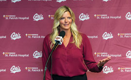 New Lady Griz basketball coach Shannon Schweyen answers questions at a press conference in August.