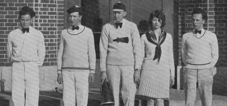 UM's 1929 Yell King Nelson Fritz, center, and his Yell Dukes and Duchess, from left: Billie Burke, Alexis Anderson, Edith Conklin and George Husser.