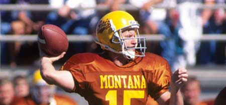 Dave Dickenson throws a pass in Griz uniform