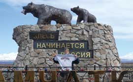 Rex Boller shows off his Griz pride in Kamchatka, Siberia