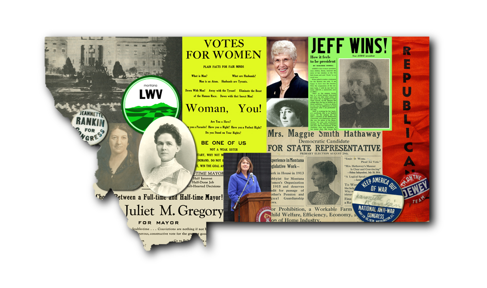 Photo collage of women in Montana politics