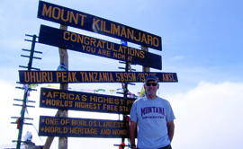Pat Wilson '81, Bozeman, took his Griz gear to the summit of Mount Kilimanjaro, Africa's highest peak, in August 2014.