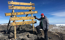 Cory Procter scaled Mount Kilimanjaro in Africa earlier in 2017.
