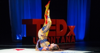 Morgan Mull-Osborn, a dance major at UM, performs an original piece entitled Accumulation.