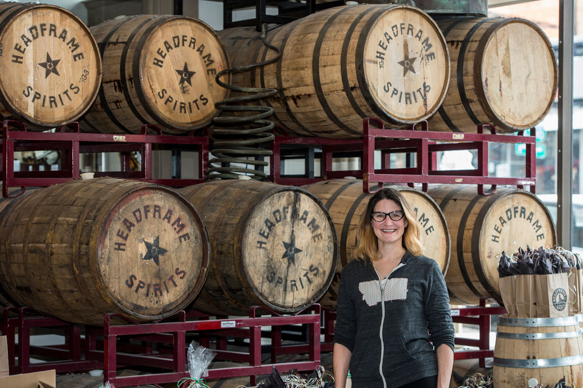 Courtney McKee co-founded Headframe Spirits in Butte with her husband and fellow UM graduate, John. (Photo by Todd Goodrich)