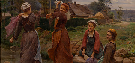 César Pattein (French, 1850-1931), Doing the Wash, 1905, oil on canvas, donated by Dr. Caroline McGill.