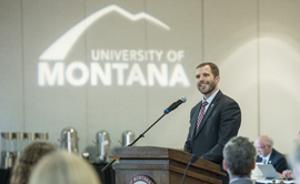 President Seth Bodnar speaks at the November Board of Regents meeting in Missoula.