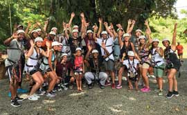 The Griz pose for a picture after ziplining in Costa Rica.