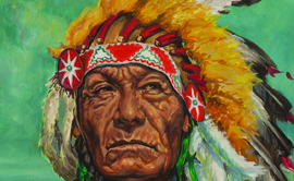 Elizabeth Tangye Lochrie (American, 1890-1981) Chief Dewey Beard or Iron Hail, 1965, oil on canvas, 20¼ x 16 inches, Montana Institute of the Arts Collection