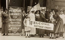 Women attend suffrage rally in 1900s