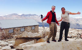 "Emily ""Smokey"" Brine, left, poses triumphantly atop the 14,505-foot Mount Whitney with her hiking partner Shelly ""Queen B"" Bruecken on July 23, 2015."