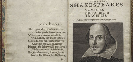 The First Folio (Photo courtesy of The Folger Shakespeare Library)